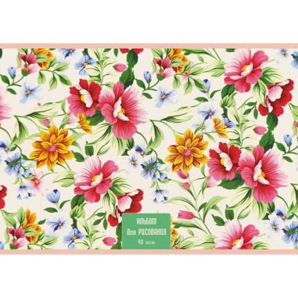 Альбом для рисования Unnika Land А401977 Цветочный орнамент 40л 110г/м скрепка