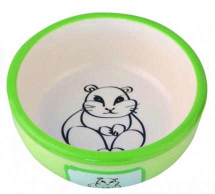 Одинарная миска для грызунов DEZZIE, керамика, белый, зеленый, 0.2 л
