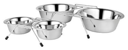 Двойная миска для кошек и собак Зооник, металл, серебристый, 2 шт по 0.18 л