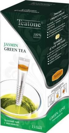 Чай зеленый Teatone с ароматом жасмина в стиках 15 пакетиков