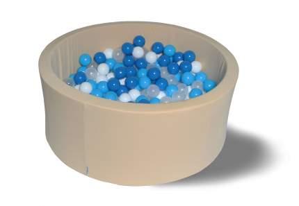 Сухой игровой бассейн Песок и море 40см с 200 шарами: син, голуб, бел, прозр