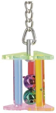 Игрушка для птиц Beeztees подвесная треугольная с 2-мя колокольчиками 22 см