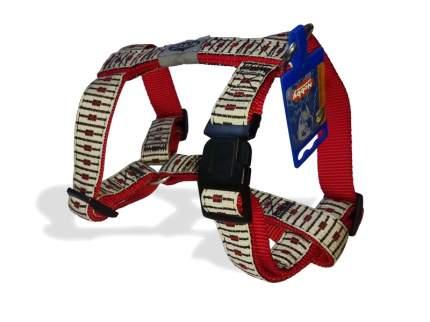 Шлейка для собак NOBBY Jaquard, бежевая, красная, 25 мм / 40-65 см