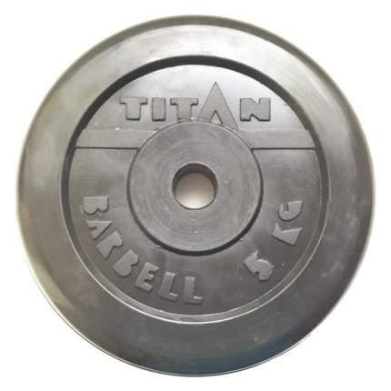Диск Titan Barbell обрезиненный черный d-26 5 кг