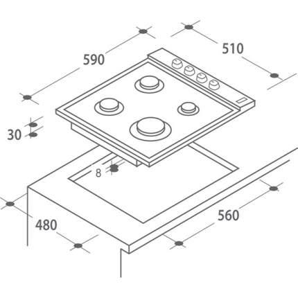 Встраиваемая варочная панель газовая Candy CLG 64 SPXMX Silver
