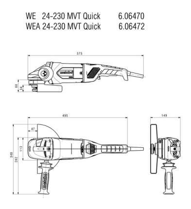 Сетевая угловая шлифовальная машина Metabo WE24-230MVTQuick 606470000