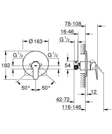 Смеситель для встраиваемой системы Grohe BauEdge 29078000 серебристый