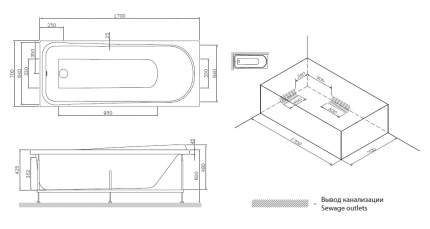 Акриловая ванна AM.PM Like 170х170 без гидромассажа