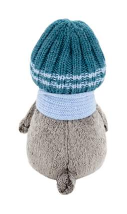 Мягкая игрушка «Басик» в голубой вязаной шапке и шарфе, 30 см Басик и Ко