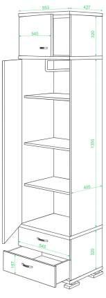 Платяной шкаф Мэрдэс Домино КС-10 MER_KS-10_KBE 55,3x42,7x213, карамель