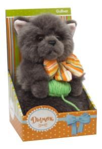 Мягкая игрушка Gulliver Котик Дымок с клубком и бантом, 19 см