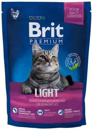 Сухой корм для кошек Brit Premium Light, облегченный, курица, печень, 0,8кг