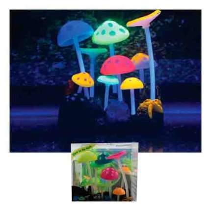 Декорация для аквариума Грибы разноцветные силиконовые, с узорами 9х7х11см