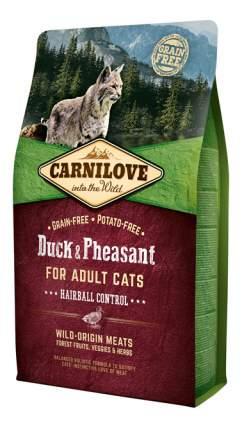 Сухой корм для кошек Carnilove Hairball Control, для выведения шерсти, утка, фазан, 6кг