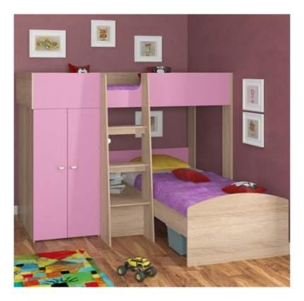 Двухъярусная кровать Golden Kids 4 дуб сонома/розовая