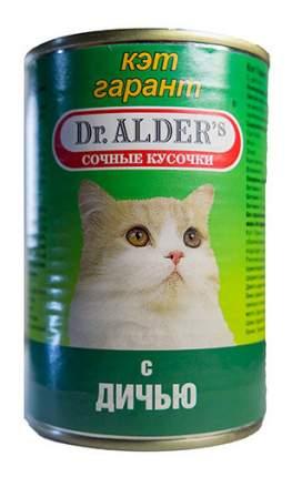 Консервы для кошек Dr. Alder's Cat Garant, с дичью в соусе, 24шт по 415г