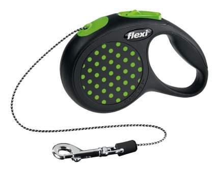 Поводок-рулетка для собак flexi Design, черный/зеленый горох, XS, до 8 кг, 3 м