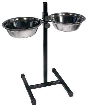 Двойная миска для собак Дарэлл, сталь, серебристый, черный, 2 шт по 2 л