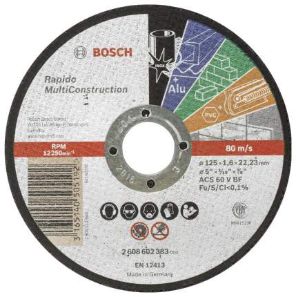 Отрезной круг Bosch MULTICONSTRUCT, 125x1,6 мм 2608602383