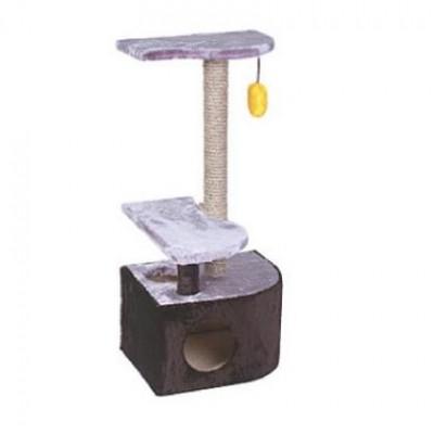 Комплекс для кошек Дарэлл Домик-когтеточка 3-х уровневый угловой 36х49х96см