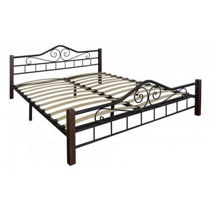 Кровать Мебелик 160х200 см, коричневый/черный
