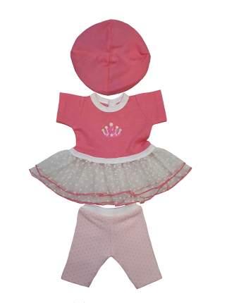 Платье с лосинами и беретом для куклы Колибри 113 розовое с белым