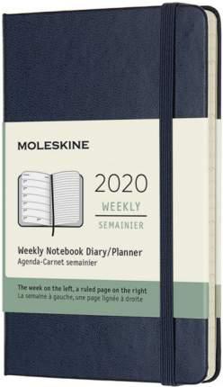 """Еженедельник датированный на 2020 год """"Classic"""" WKNT Pocket, 144 страницы, синий сапфир"""