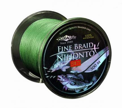 Шнур плетеный Mikado Nihonto Fine Braid Green 0,23 мм, 300 м, 20,2 кг