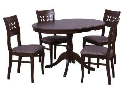 Обеденная группа для кухни Mebwill Стол Амадей + 4 стула Лион Орех темный