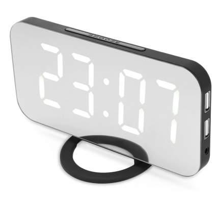 Электронные настольные/настенные зеркальные часы с USB (черный корпус, белые цифры)