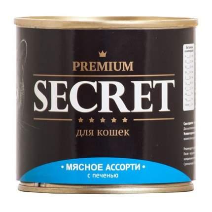 Консервы для кошек Secret Premium, мясное ассорти с печенью, 240г