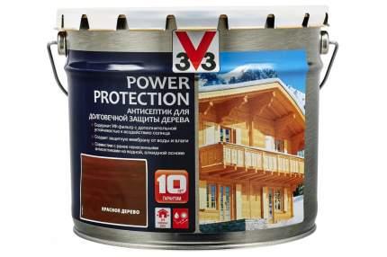 V33 Power Protection антисептик для долговечной защиты дерева 9 л, Цвет красное дерево