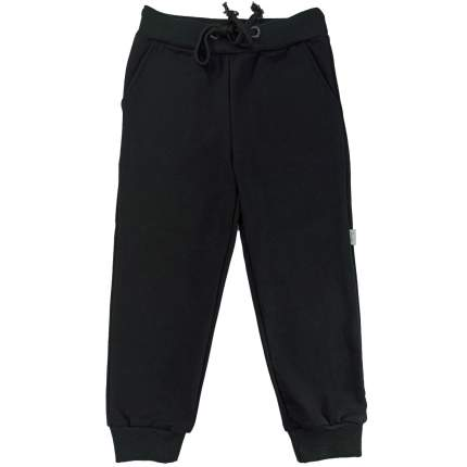 Штаны Папитто футер черные с карманами, на манжетах, размер 128
