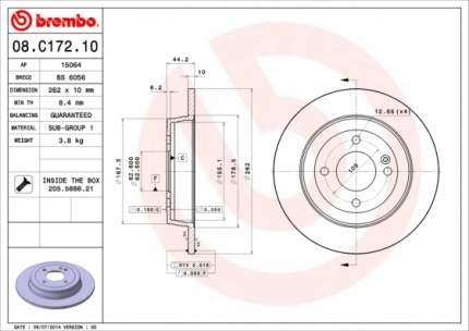 Тормозной диск brembo 08C17210