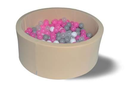 Сухой игровой бассейн Розовый жемчуг 40см, с 200 шарами: роз, сер, бел, прозр