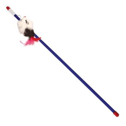 Дразнилка для кошек Triol натуральный мех, перья, пластик, белый, синий, черный, 56.5 см