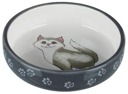 Одинарная миска для кошек TRIXIE, керамика, белый, серый, 0.3 л