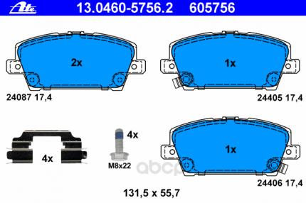 Ремкомплект тормозных колодок Ate 13.0460-5756.2