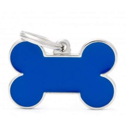 Адресник My Family Basic Handmade в форме косточки для животных (4 см, Синий)