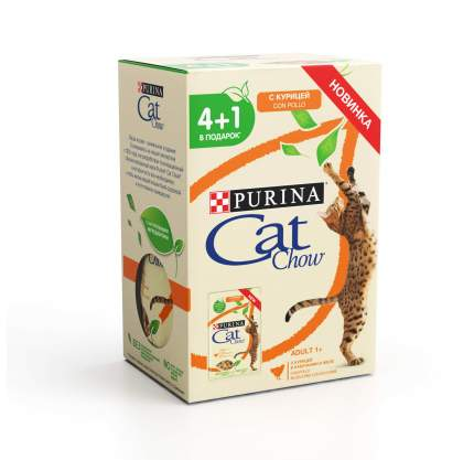 Влажный корм для кошек Cat Chow с курицей и кабачком, 85 г,  4+1 шт