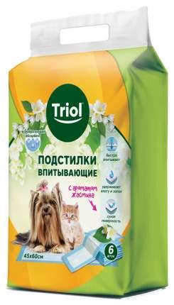 Пеленки для домашних животных Triol, впитывающие с ароматом жасмина, 45х60 см, 6 шт