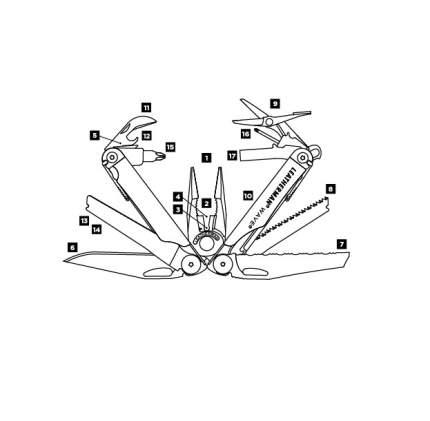 Мультитул Leatherman Wave Plus 832524 100 мм серебристый, 17 функций