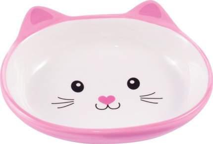 Миска для кошек КерамикАрт Мордочка кошки, керамическая, розовая, 160мл