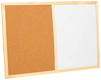 Доска 60 × 40 см, 2 поверхности: пробка под кнопки, магнитно-маркерная, маркер в комплекте