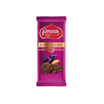 Шоколад молочный Россия щедрая душа с миндалем и изюмом 90 г