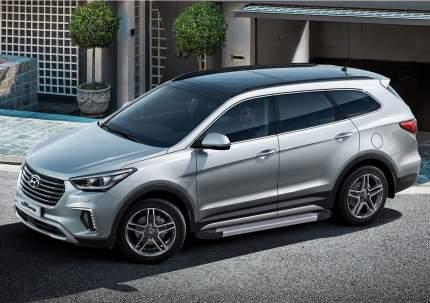 Пороги алюминиевые Silver Rival Hyundai Santa Fe 12-18/Santa Fe Premium, F180AL.2305.2