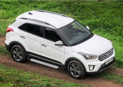 "Пороги на автомобиль ""Silver"" Rival для Hyundai Creta I 2016-2021, 173 см, F173AL.2310.1"