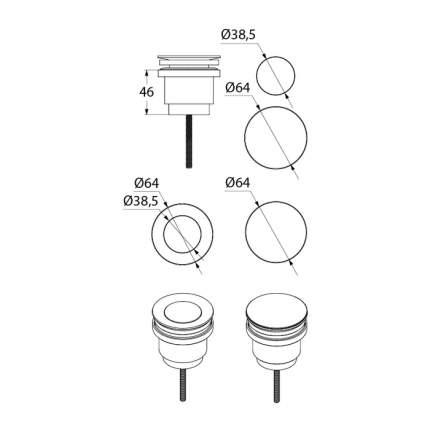 Выпуск для раковины полуавтоматический универсальный IDDIS 001SB00i88