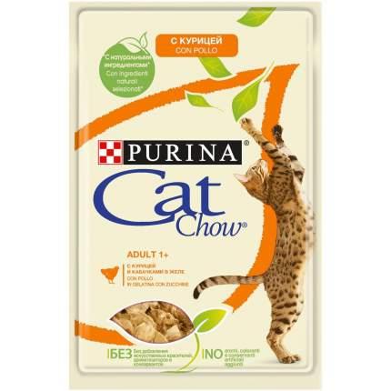 Влажный корм для кошек Cat Chow Adult, скурицей и кабачком в желе, 85г