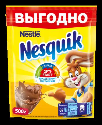 Напиток Nesquik nestle opti-start быстрорастворимый с какао в пакете 500 г